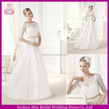 SD104 half sleeve elegant lace bridal dress simple long sleeve wedding dress with sleeve