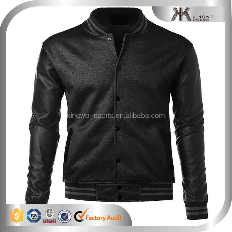 2016 high quality polyester / nylon man coat & jacket , leather sleeves men bomber jacket & overcoat, wholesale alibaba jacket