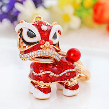2017 Hot Sale Chinese Style Cute Lion Dance Keychain With Rose Gold Metal Keyring Unicorns Pendant Keychains For Bag Accessory