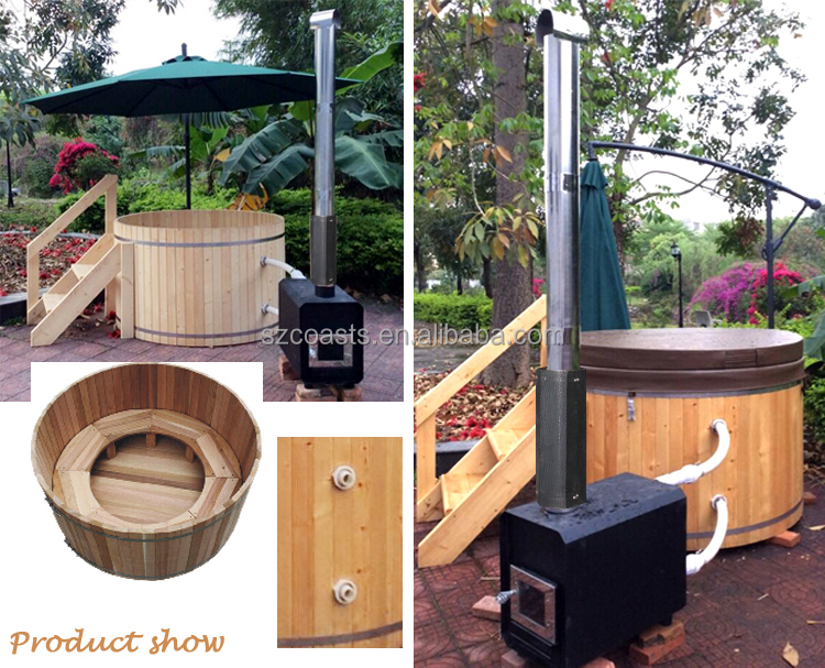 Wood fired hot tub and wood burning stove cedar hot tubs for sale