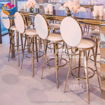 party wedding hotel bar dinning new design rose gold silver white black leather stainless steel bar chair vintage