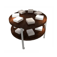 round retail shop wood display table
