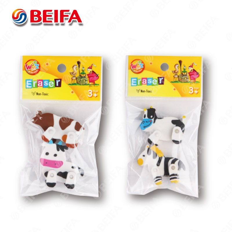 ARB062 Beifa New Design Rubber 3D Animal Erasers