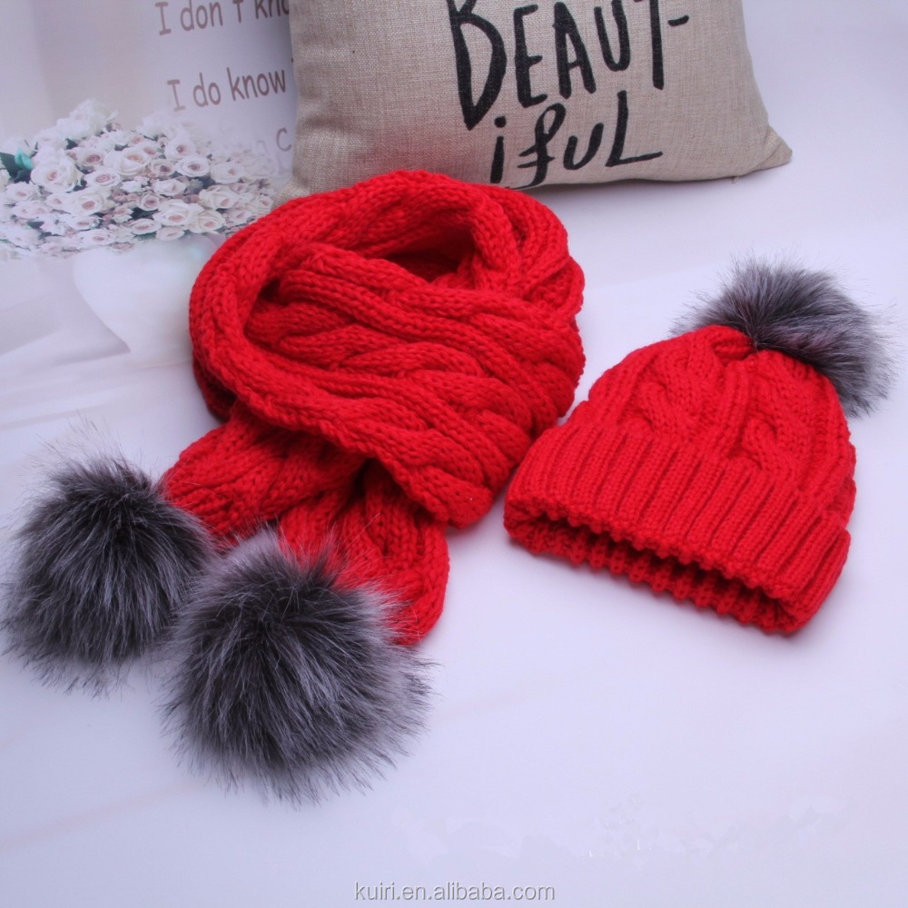 Fashion set knit hat and scarf hot selling