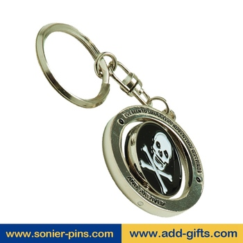 Sonier-Pins spin metal keychain football keychain name card key ring