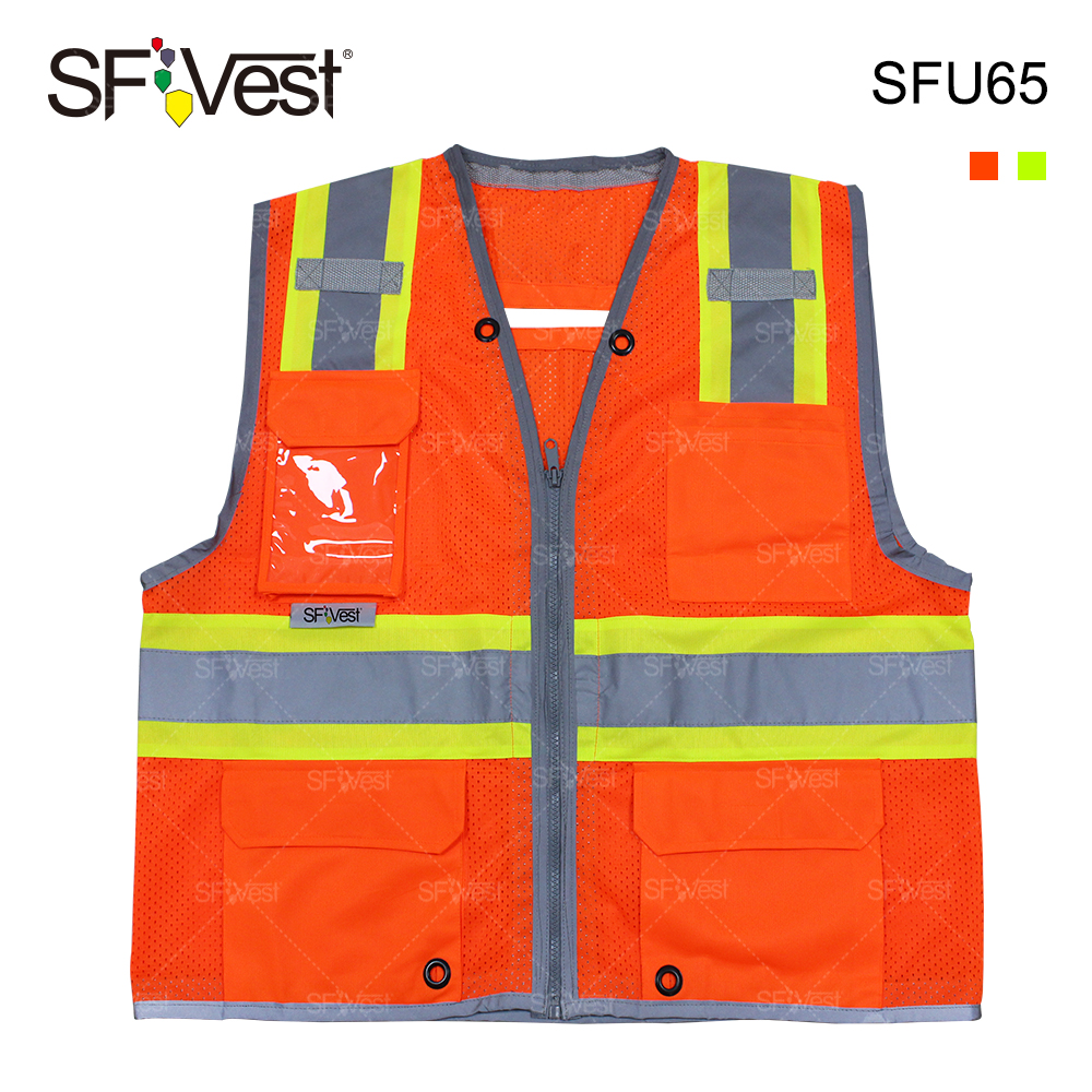 ansi men's hi vis mesh fabric work vest with custom logo tool reflective safety vest with pockets surveyor workwear uniform