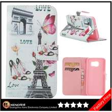 Keno For Samsung Galaxy S6 Retro Eiffel Tower Style Flip Leather Cover Case