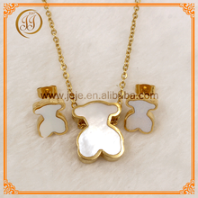Bear Pendant Set Stainless Steel Sets Shell Italian Gold Jewelry Sets