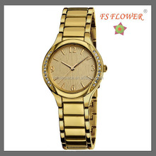 Gold Plated Diamond Wrist Watch Metal Band 3 ATM Water Resistant Watch