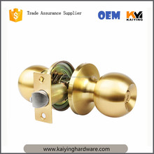 Tubular knob door locks US4 satin brass interior indoor entry bedroom bed bath shower room door round knob lock,cerraduras 587
