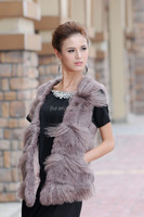 Real Mongolian Sheep Fur Lined Rabbit Fur Vest For Autumn Winter Fashion