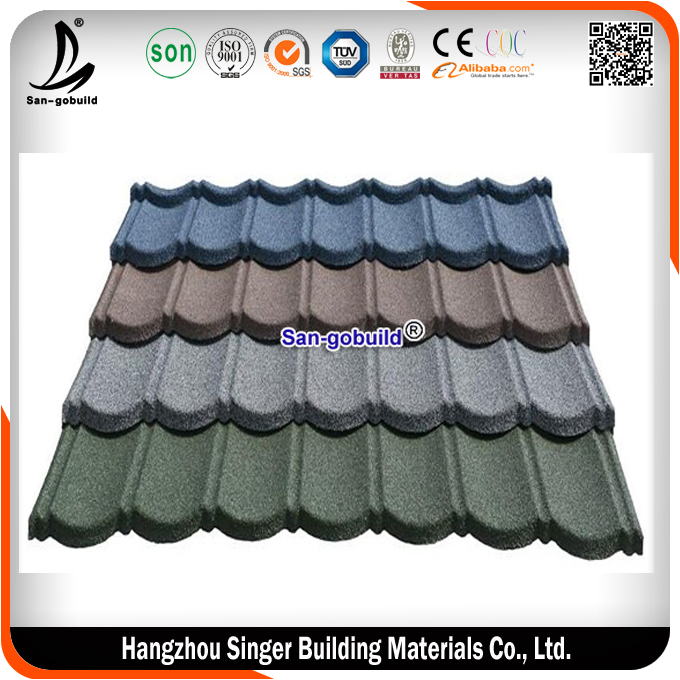 Classical 7 waves Stone Coated Metal Roofing Tile With Kenya Roof Materials Standard