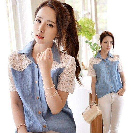 China top-one Wholesale Summer Ladies Short Lace Jeans Tops