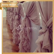 C304A wholesale cheap blush pink ruffled chiffon chair hoods for wedding