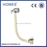 Brass bath waste mixer filler and overflow combination bathtub drain