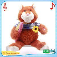 Lovely soft plush cartoon bear toys with singing and movements stuffed cuddle bear holding a sunflower