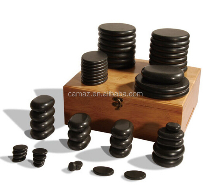 36pcs/set hot basalt masssage stone in wooden box package