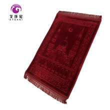 2017 new design 100% polyester embossed muslim worship blanket