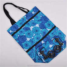Beautiful Color Flower Foldable Shopping Trolley Bag Shopping Trolley Bag Wheels Polyester Shopping Bag