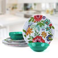 Dishwasher Safe Unbreakable Modern Dinnerware 12 pieces Melamine Dishes Set ,