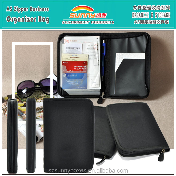 A5 Waterproof 600D Polyester Cards Files Bills Holding Zipper Travel Bag