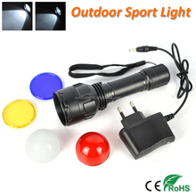 Colorful Lens Built-in Battery Rechargeable LED Flashlight Torch