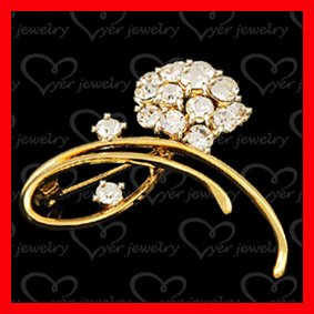2011 newest fashion 925 sterling silver CZ stones inlaid brooch
