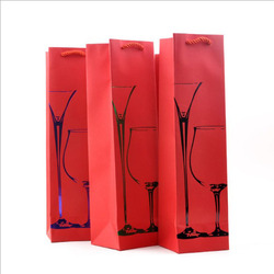 High quality best price gift 1 carmine wine bottle paper bag for wholesale