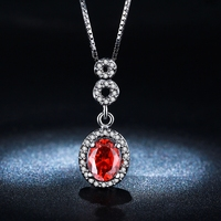 18K White gold S925 silver Double plated Fashion Necklace Drops Ruby Zircon Diamond torque wedding collar jewelry LSN011