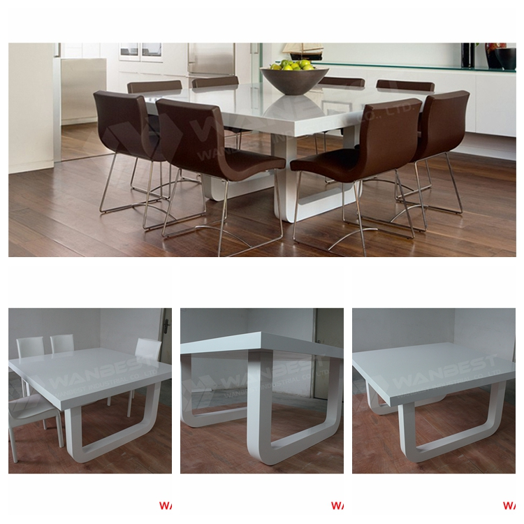 high quality glossy white solid surface stone family design 6-8 people square shape dining table