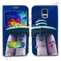 for Samsung S5 Accessories, Cute TPU+PU Leather Cases for S5, Double View Window Flip Case for Samsung Galaxy S5