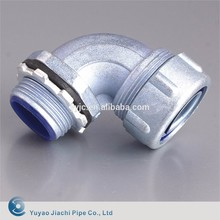 Liquid Tight Flexible Metal Conduit 90 Degree Connector With Insulated Throat