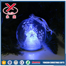 LED clear Christmas lighted glass ball with angel in it home decoration
