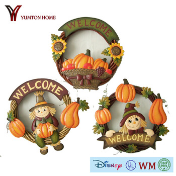 pumpkin garland welcome banner set of three for harvest festive