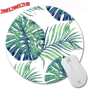 Congsi The Green Leaves Mouse pad Round Texture Computer Loptop Mice Mat Optical Anti-slip Gaming Mouse Pad silicone gel mouse
