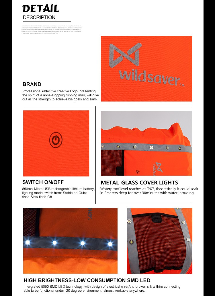 Reflective LED flashing waterproof backpack cover for hiking