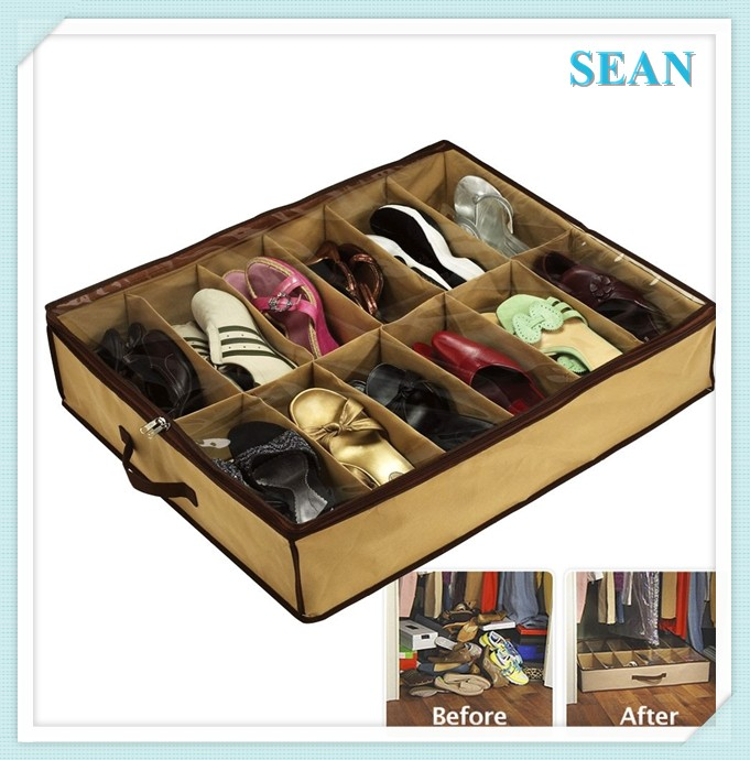 Under bed Fabric foldable 12-Pair Shoe Organizer, foldable Underbed shoe box