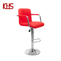Cheaper Barstool Leather and Chromed Base PU Material Adjustable Bar Chair