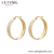 E-579 xuping Stainless Steel Jewelry 24K gold plated simple elegant hoop design Rhinestone fashion women earrings