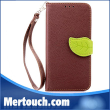 fashion 5 colors rose red brown black red green contrast case for samsung Galaxy S6 leather case