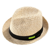 wholesale custom party jazz style cap natural tiny paper straw fedora hats