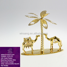 Gold Plated Camel with Palm Tree with crystals from Swarovski for Home Decoration