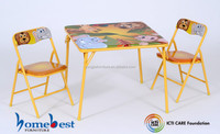 3 Pieces Metal Kids Folding Table And Chair Set