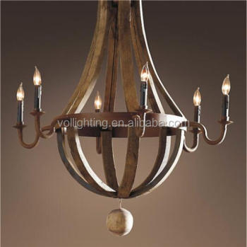 Country side style iron wood pendant lamp chandelier light popular lighting