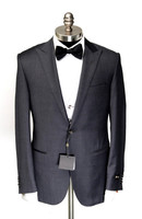 Made to Measure Mens Charcoal one Button Peak lapel super 150's Wool Tuxedo Suits