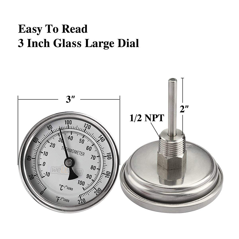 Stainless Steel  Brew Kettle Brewing Dia Thermometer with Lock Nut for Homebrew and Distilling