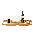 Bamboo Bathtub Tray Caddy Fit Most Bathtubs with Extending Sides