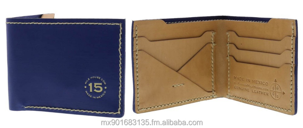 RFID Vegetable Tanned Leather Wallet, 100% Handmade, Color BLUE