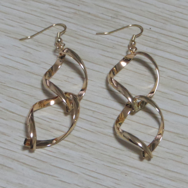14K Rose Gold Drop wire Gold plated Brass Infinity Hoop Earring