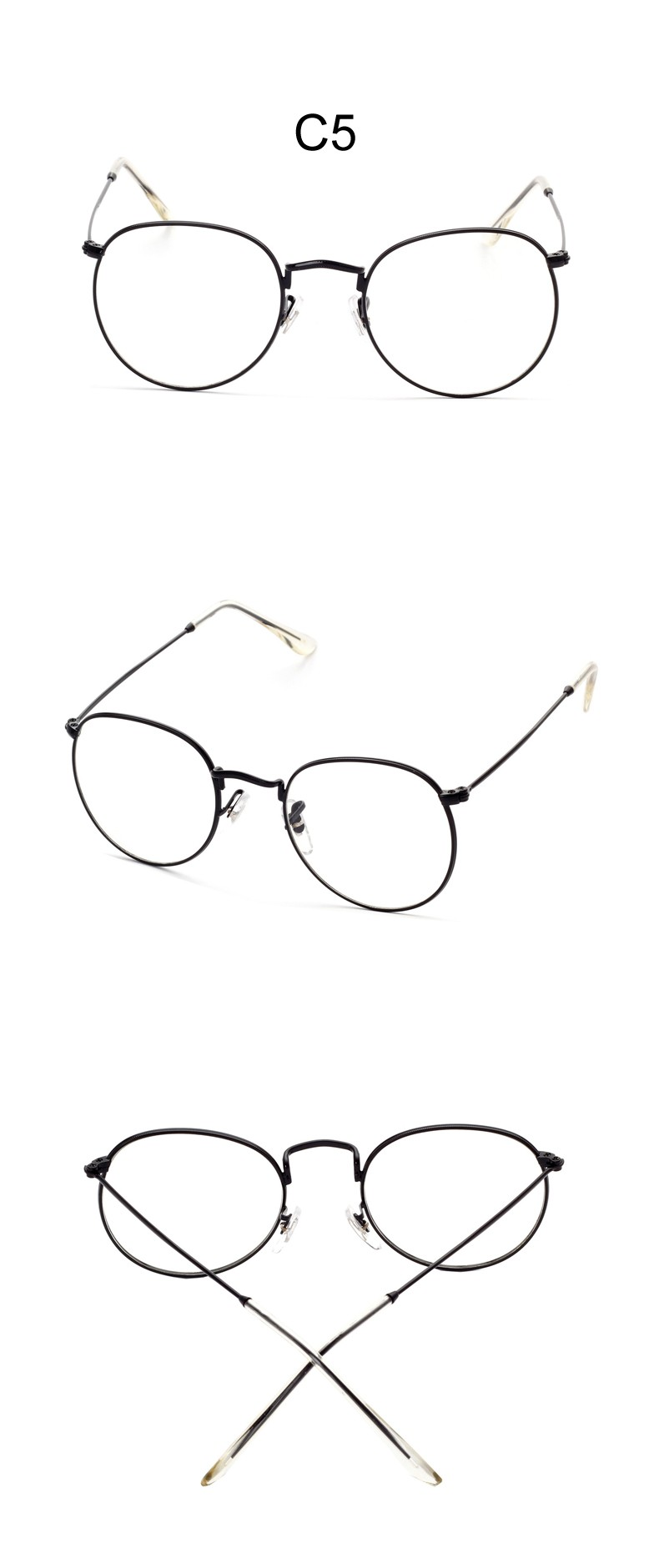 Fashion Round Metal Frame Eyeglasses For Women Men Vintage Glasses With Clear Lens Optical Frames oculos de grau feminino CC5039